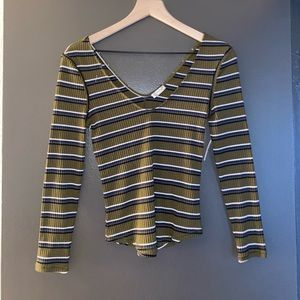 NWT Free People Olive Striped Top 🤎